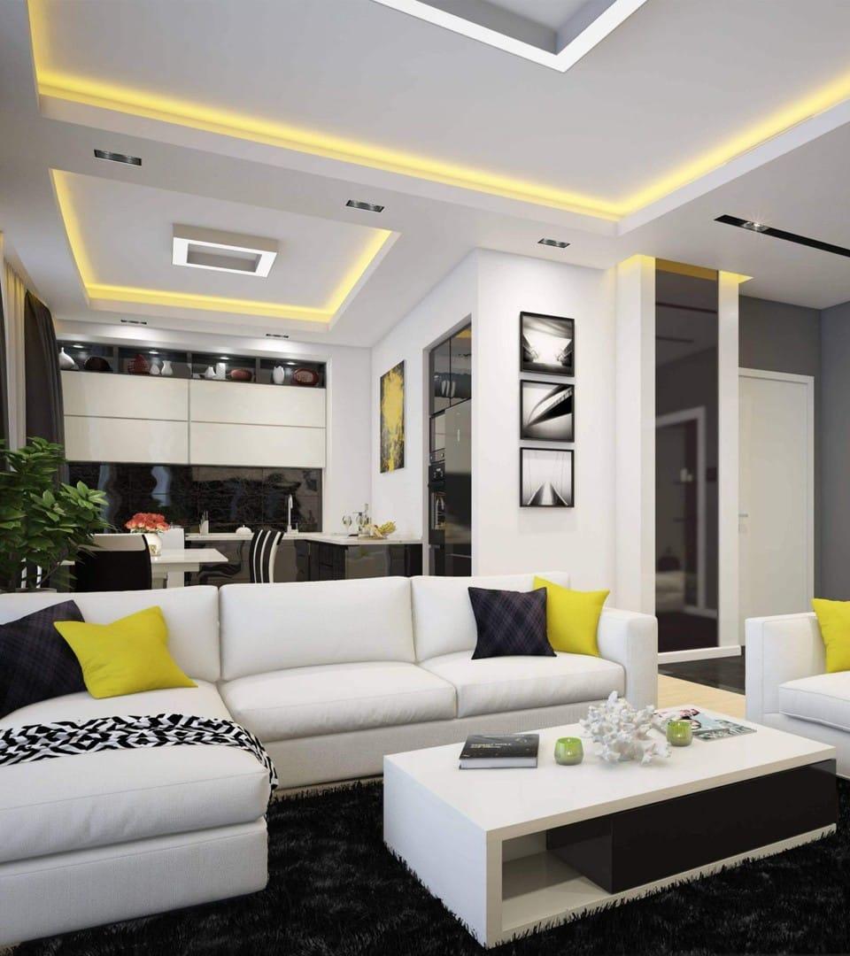 Цены двухуровневых натяжных потолков с подсветкой