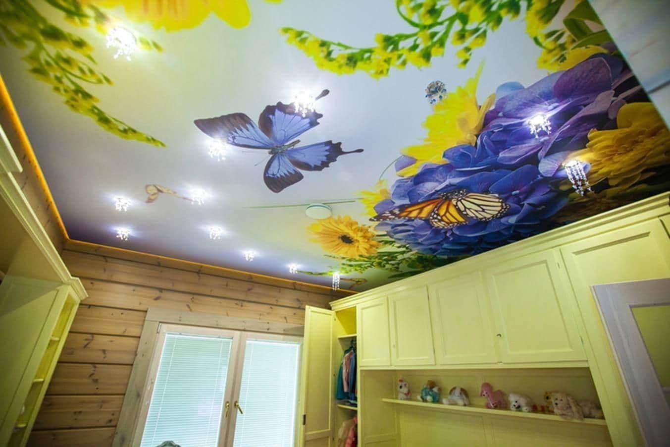 Натяжной потолок с фотопечатью в детской 15 м2 цены