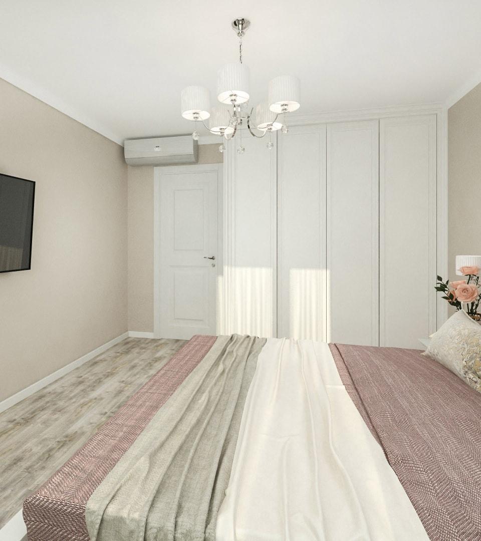 Матовый натяжной потолок в спальной 17 м2 3