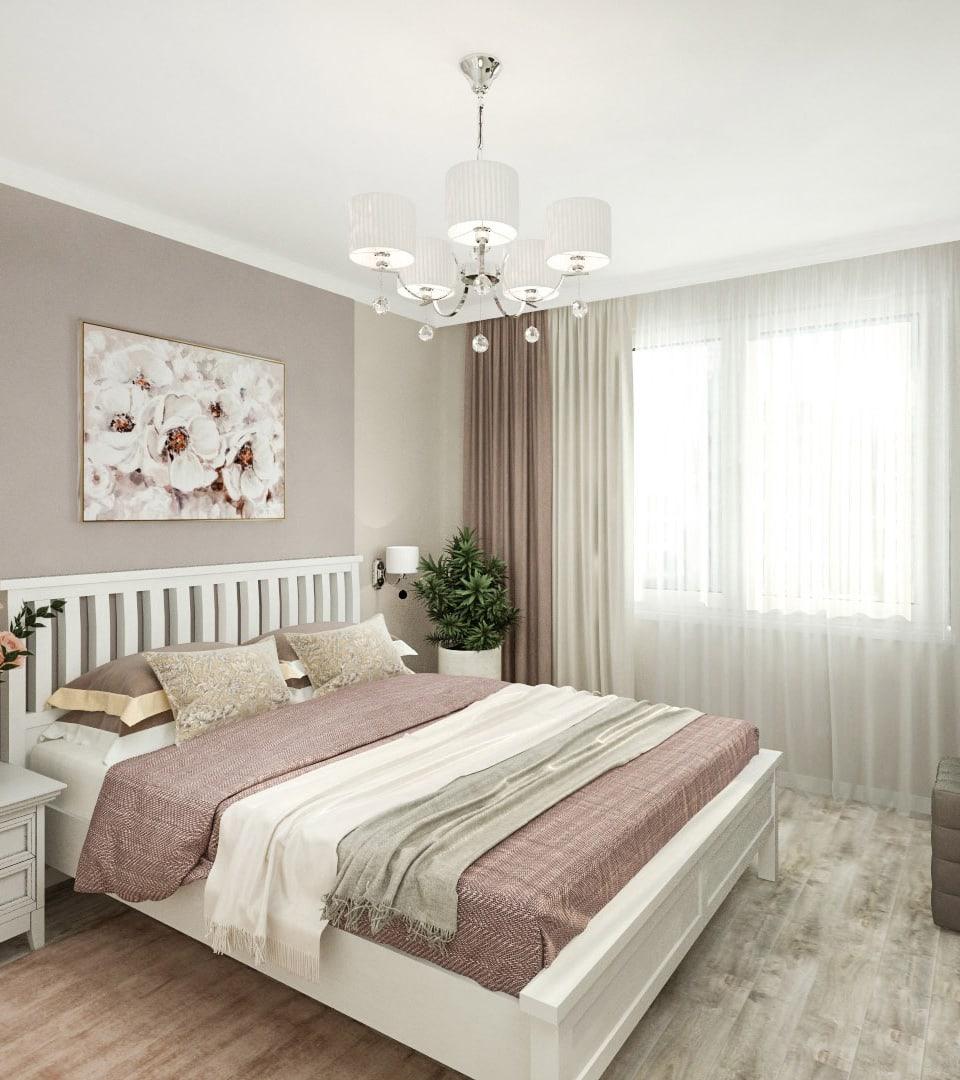 Матовый натяжной потолок в спальной 17 м2 1
