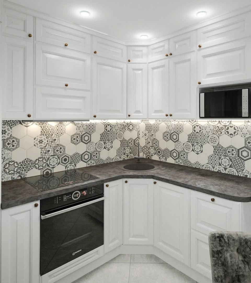 Матовый натяжной потолок на кухне 14 м2 1