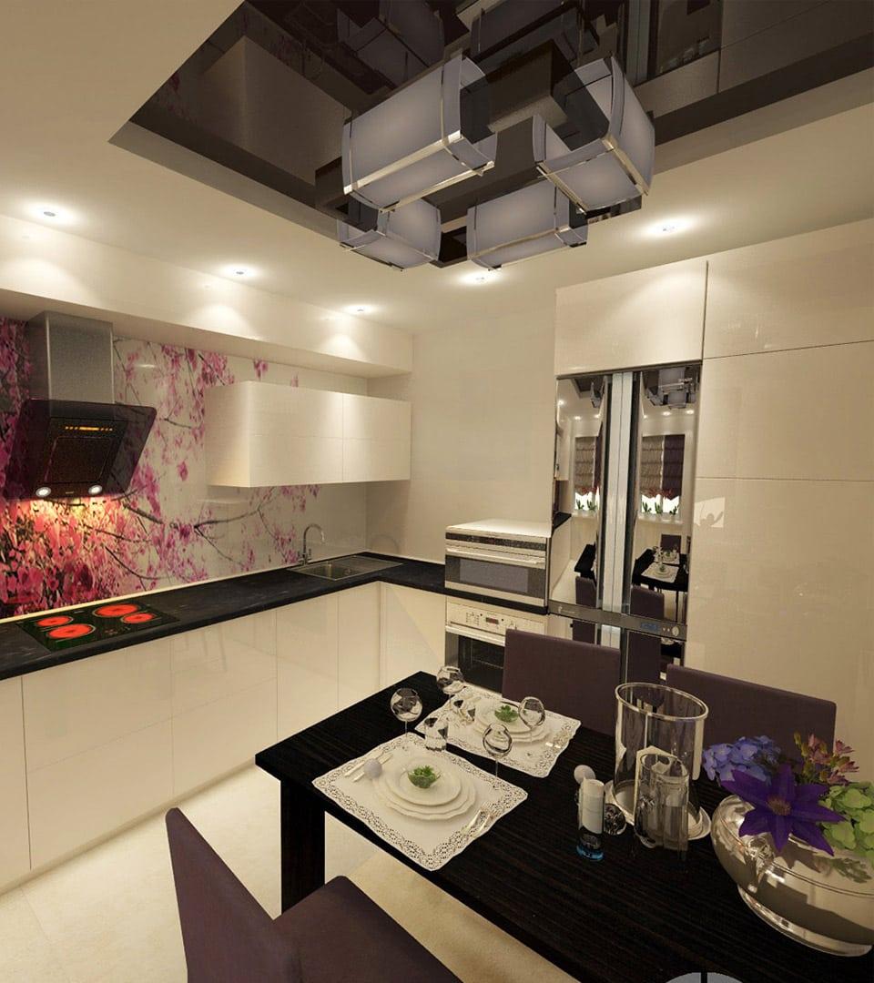 Двухуровневый натяжной потолок на кухне 14 м2 2