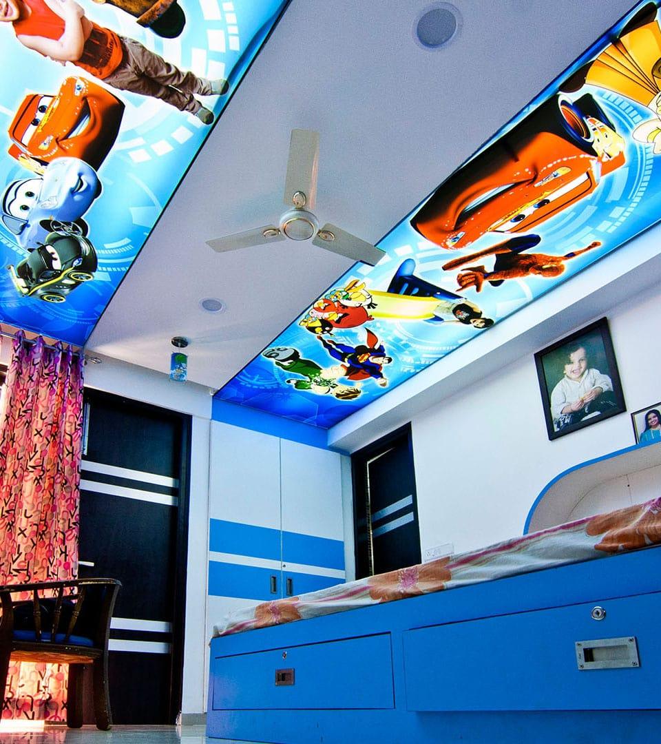 Цены двухуровневых натяжных потолков с фотопечатью 6