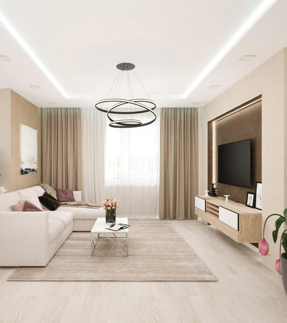 Цены двухуровневых натяжных потолков с подсветкой 9