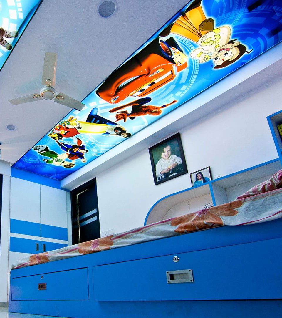 Цены двухуровневых натяжных потолков с фотопечатью 5