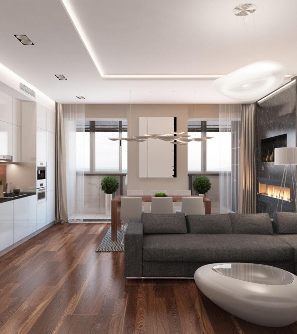Сатиновый двухуровневый натяжной потолок 32 м2 3