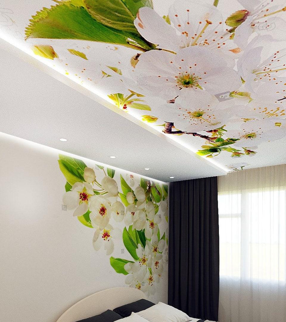 Натяжной потолок в спальне с фотопечатью 16 м2 3