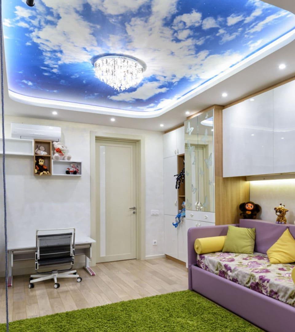 Цены двухуровневых натяжных потолков с фотопечатью 10