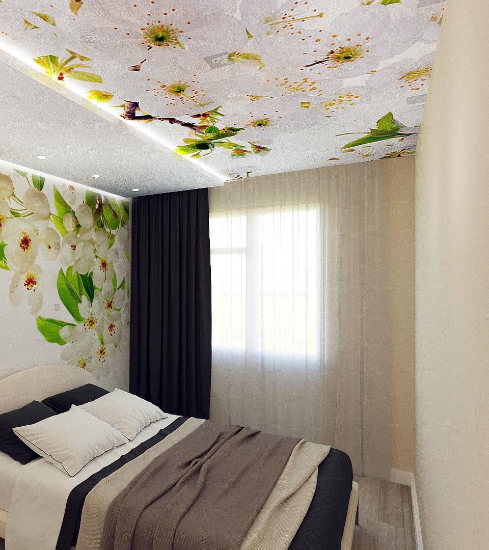 Натяжной потолок в спальне с фотопечатью 16 м2 1