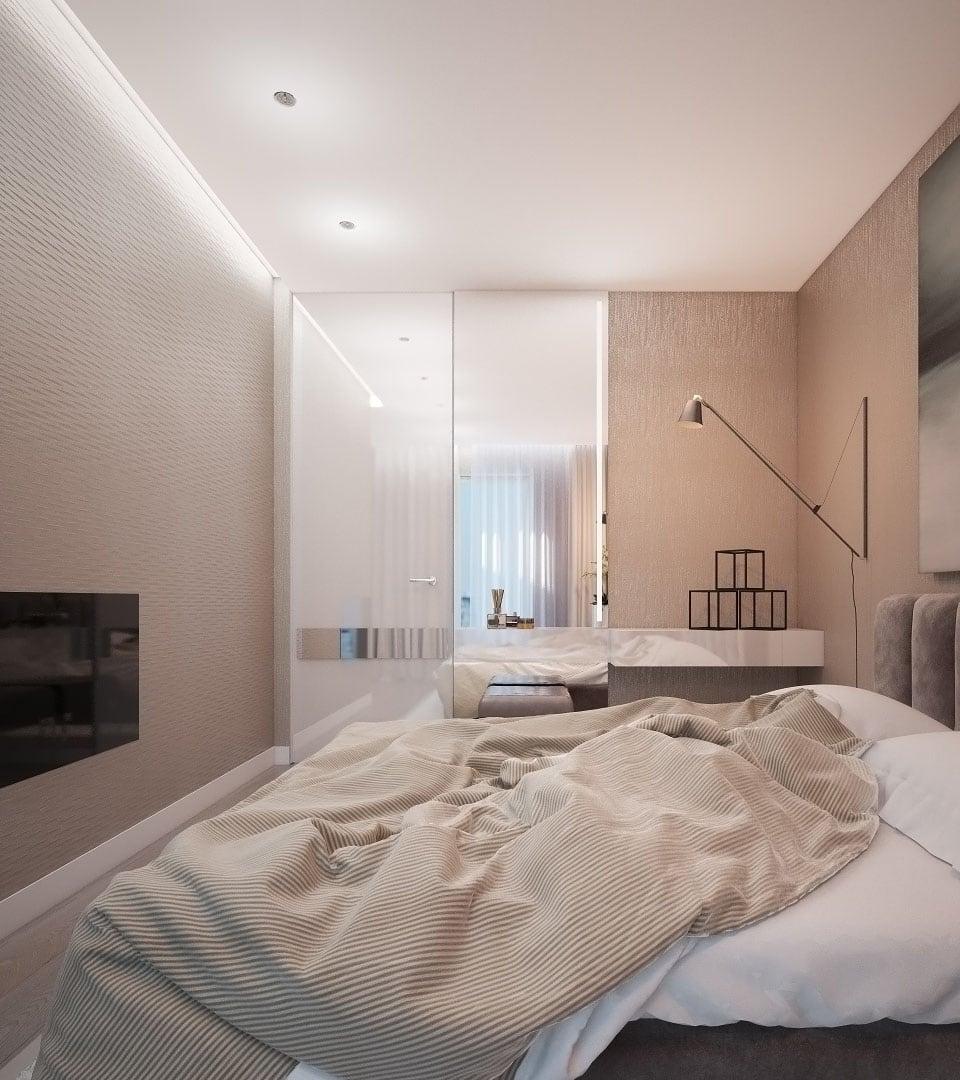Натяжной потолок с подсветкой в спальне 15 м2 1