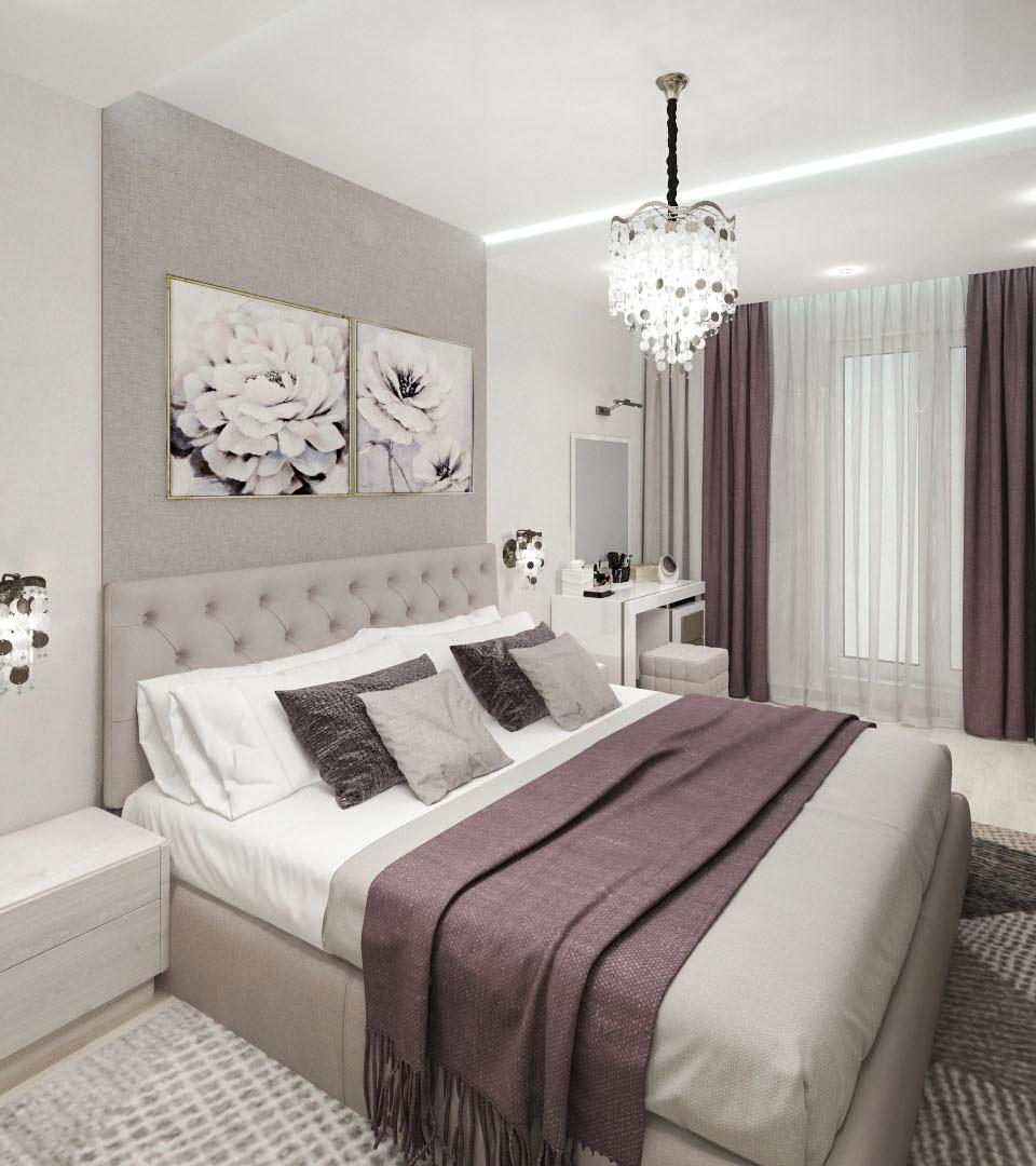 Натяжной потолок с подсветкой в спальне 17 м2 1