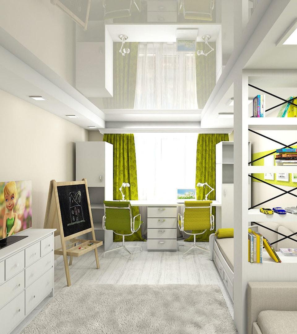Натяжной потолок в детской 16 м2 1