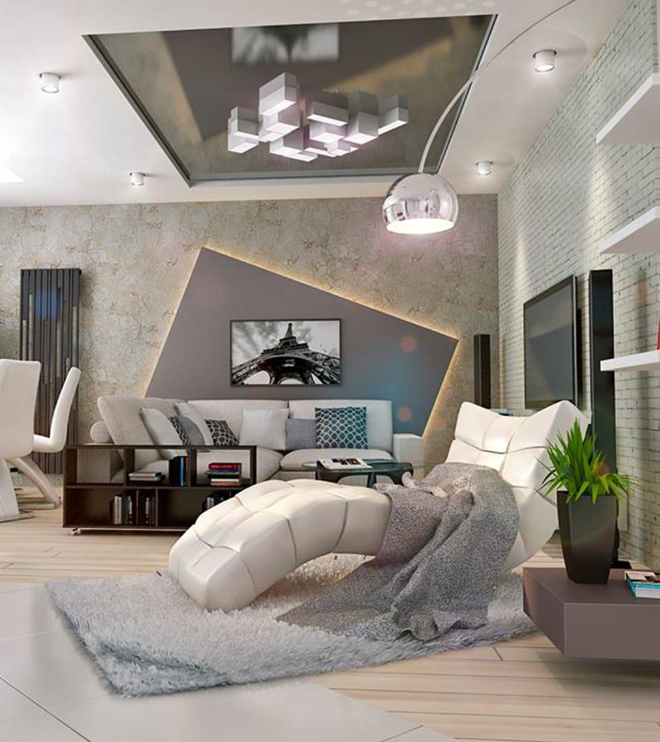 Натяжной потолок в гостиной 21 м2 1
