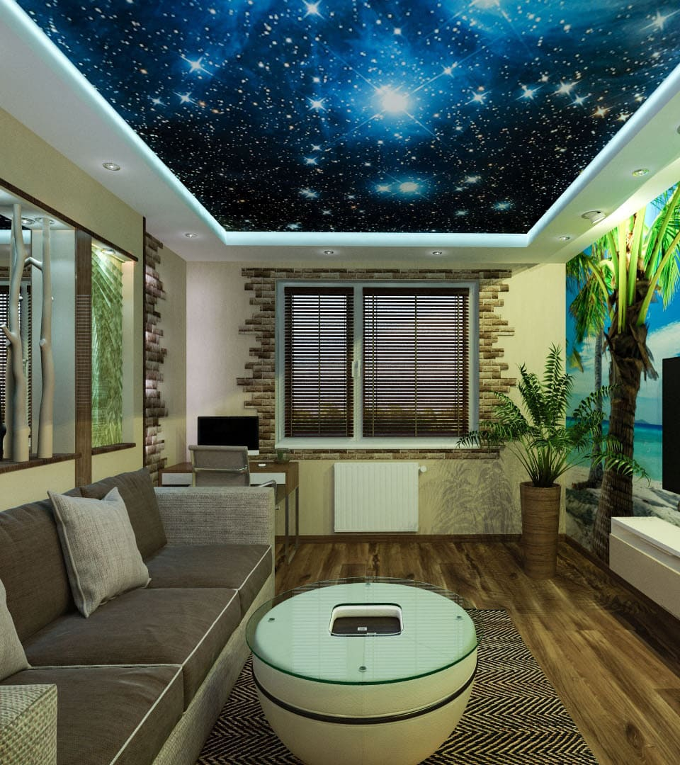 Натяжной потолок звездное небо в гостиной 18 м2 6