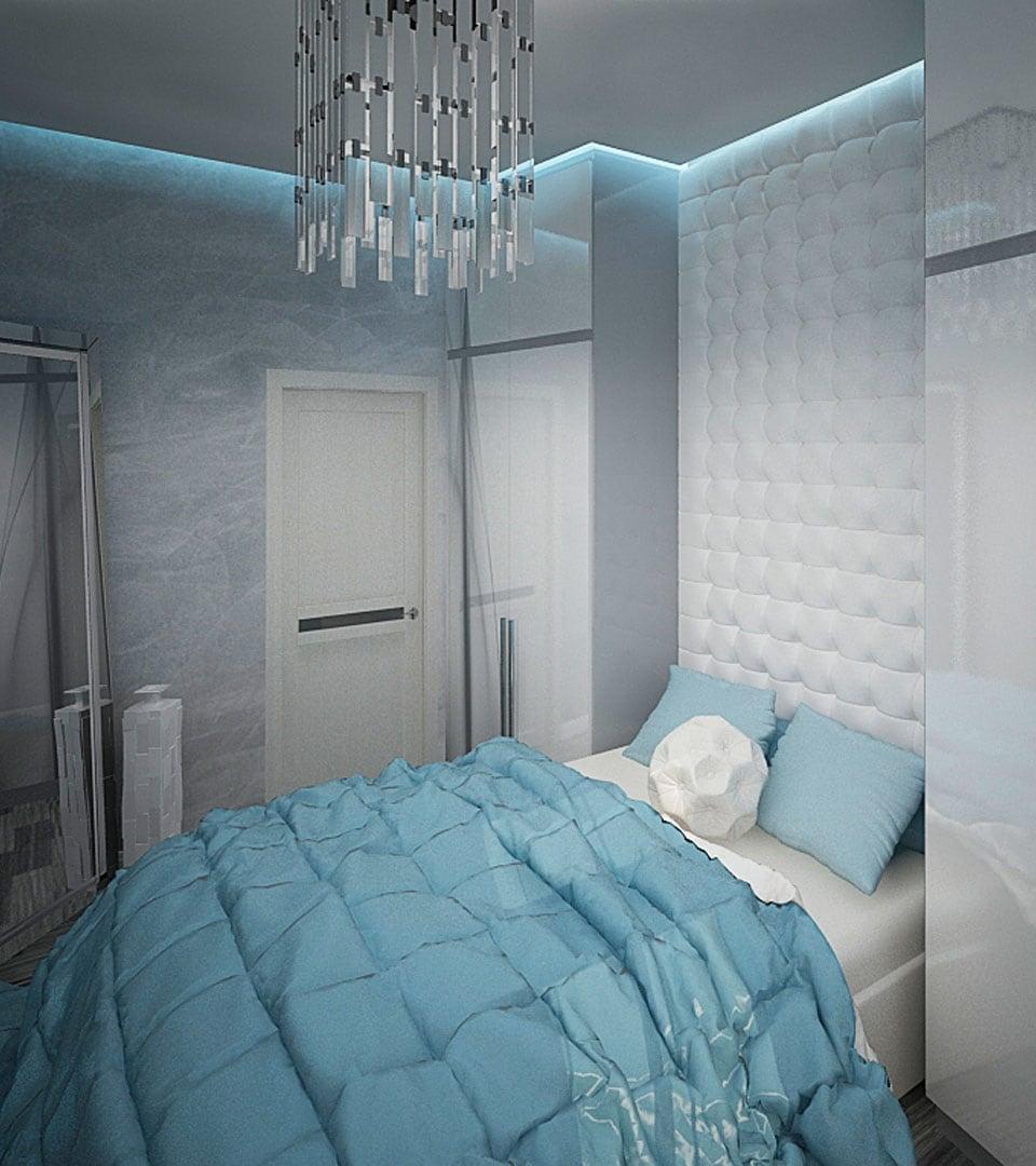Парящий натяжной потолок в спальной 16 м2 1