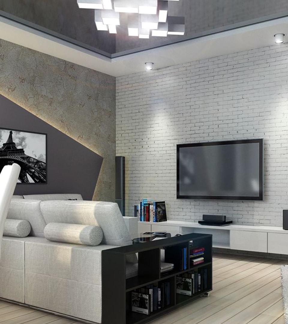 Натяжной потолок в гостиной 21 м2 4