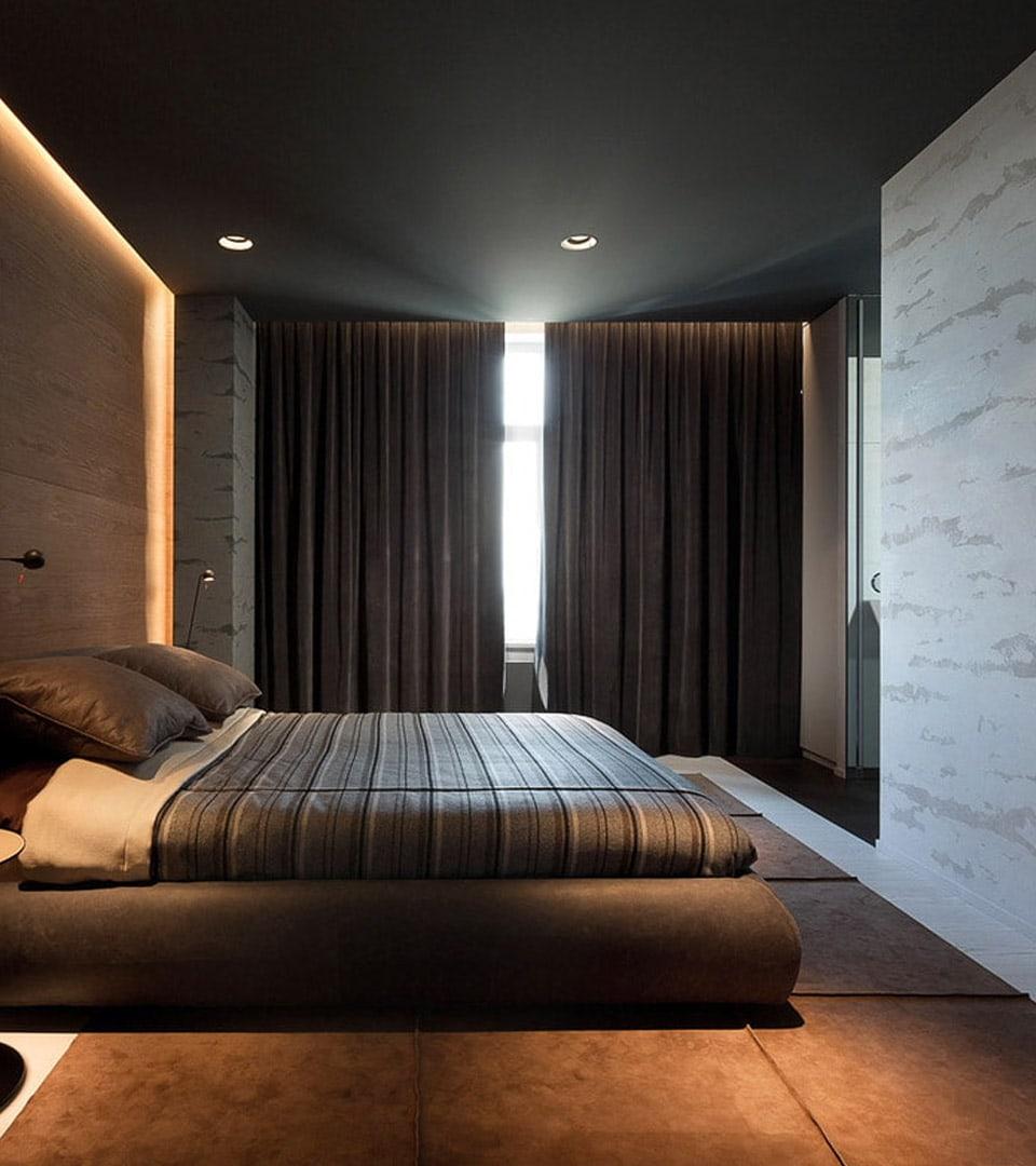 Натяжной потолок в спальне 16 м2 4