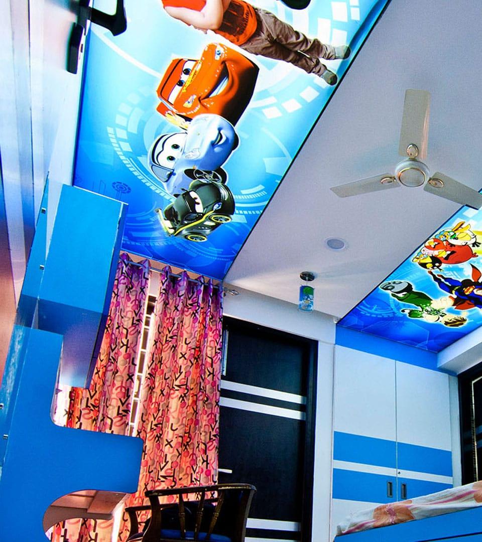 Двухуровневый натяжной потолок с фотопечатью 15 м2 3