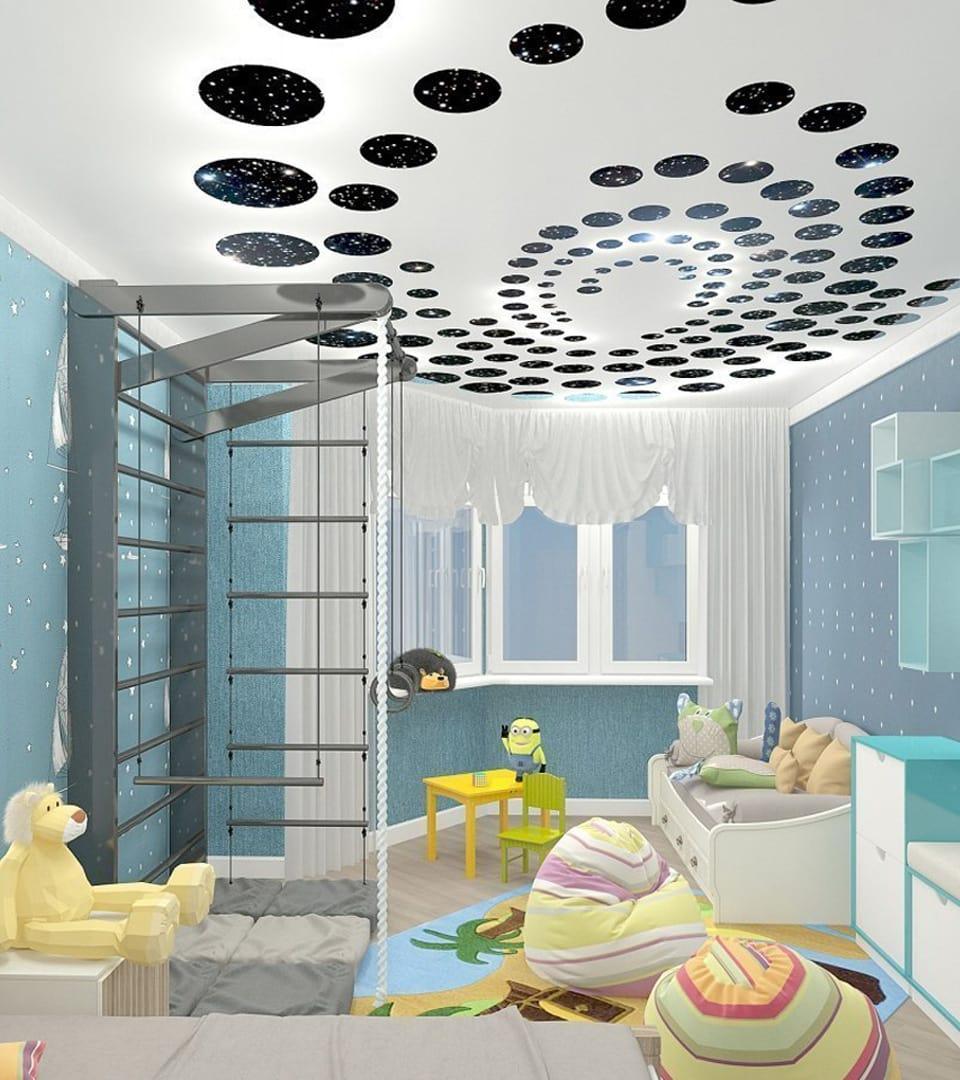 Резной натяжной потолок в детской 12 м2 3
