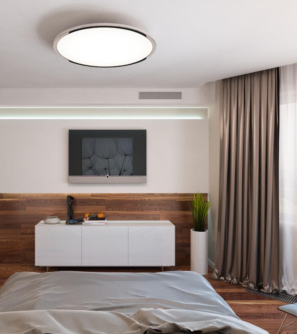 Сатиновый натяжной потолок в спальной 19 м2 2