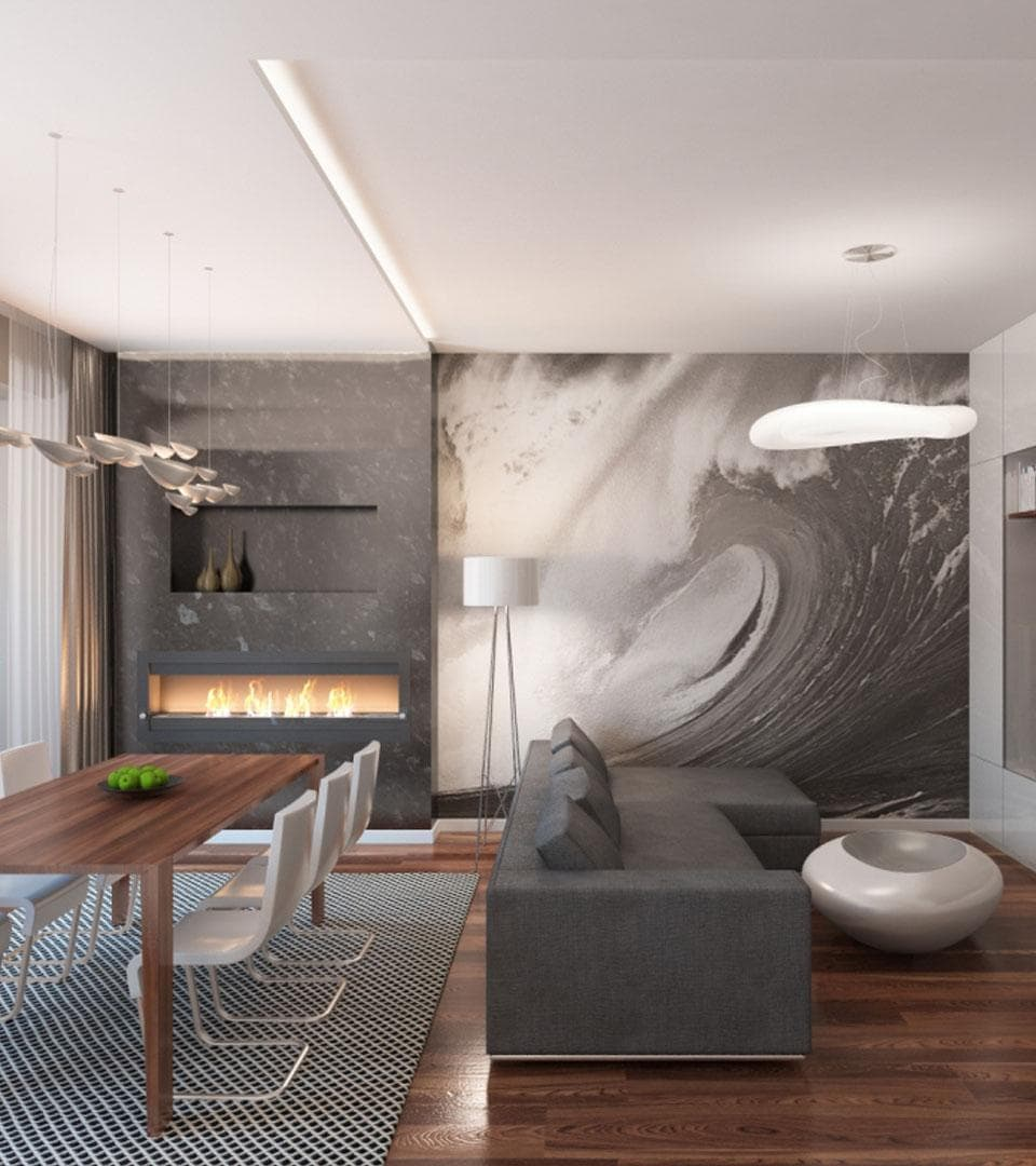 Сатиновый двухуровневый натяжной потолок 32 м2 1