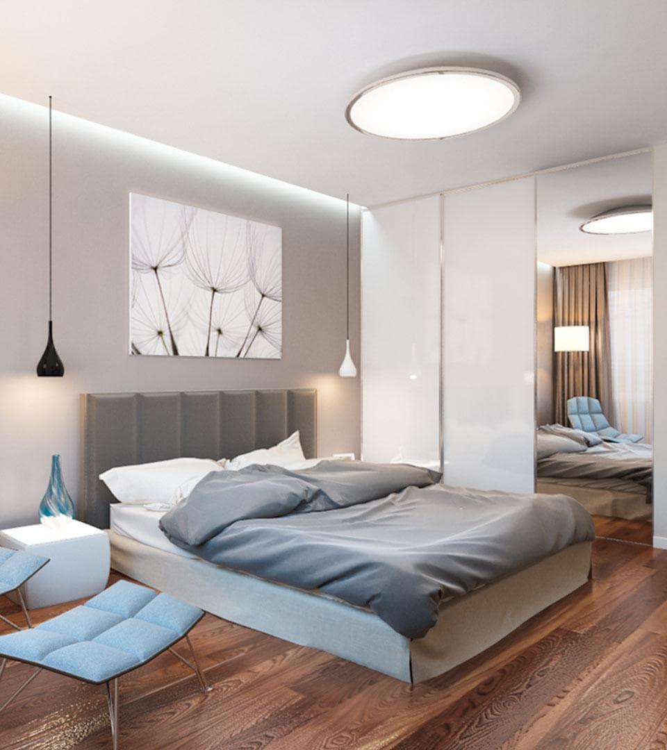 Сатиновый натяжной потолок в спальной 19 м2 3