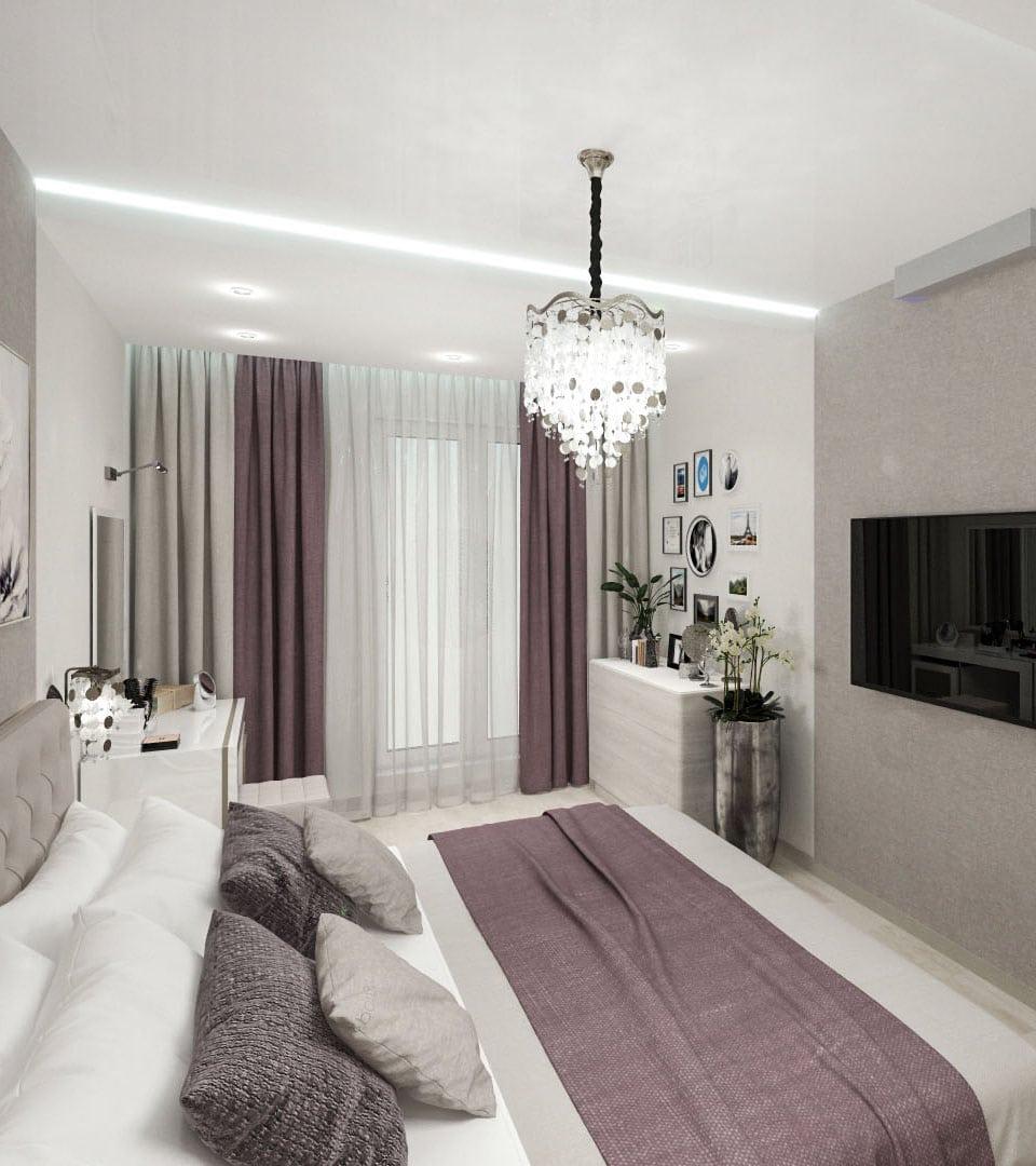 Натяжной потолок с подсветкой в спальне 17 м2 2