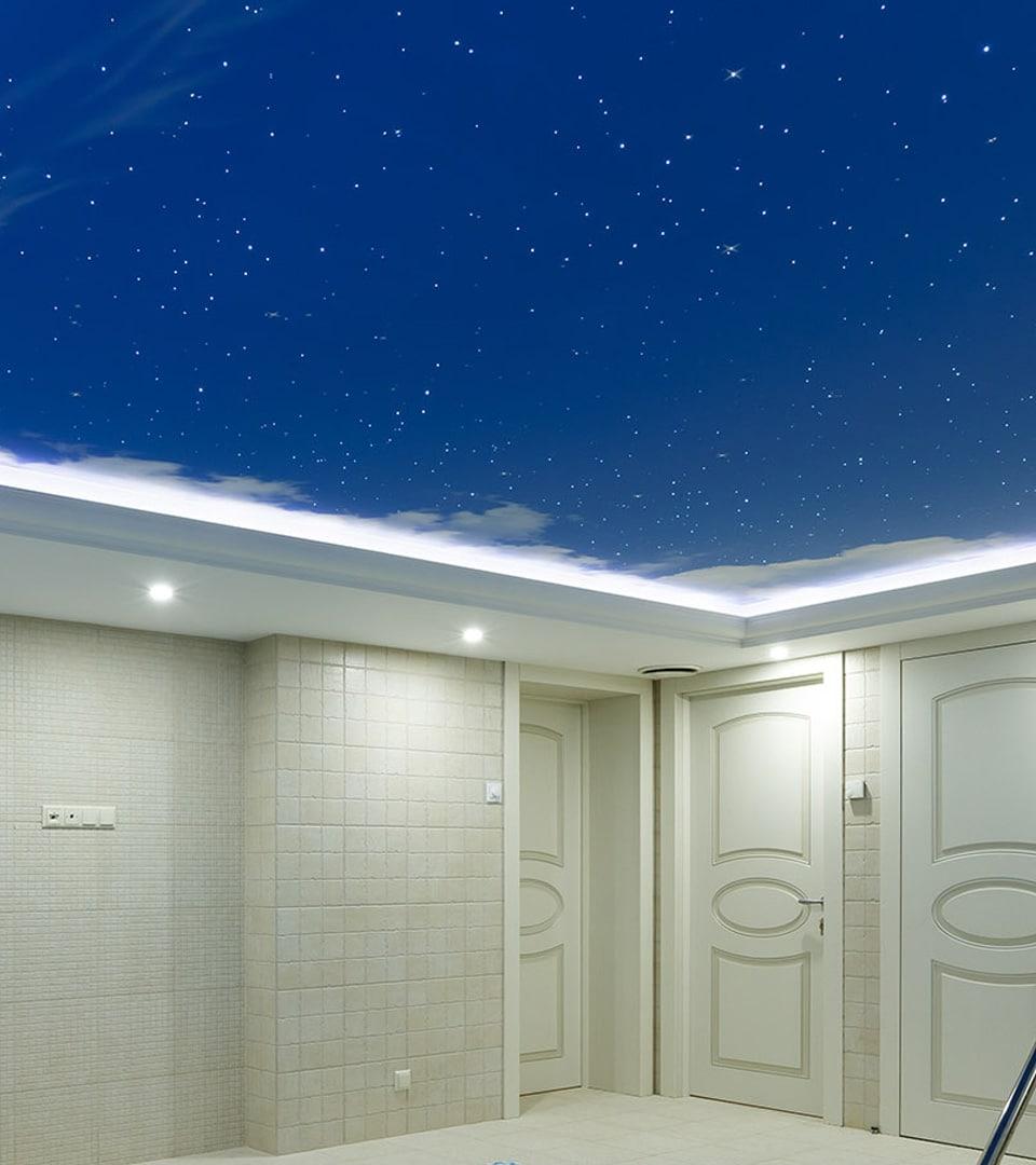 Натяжной потолок звездное небо в бассейне 19 м2 3