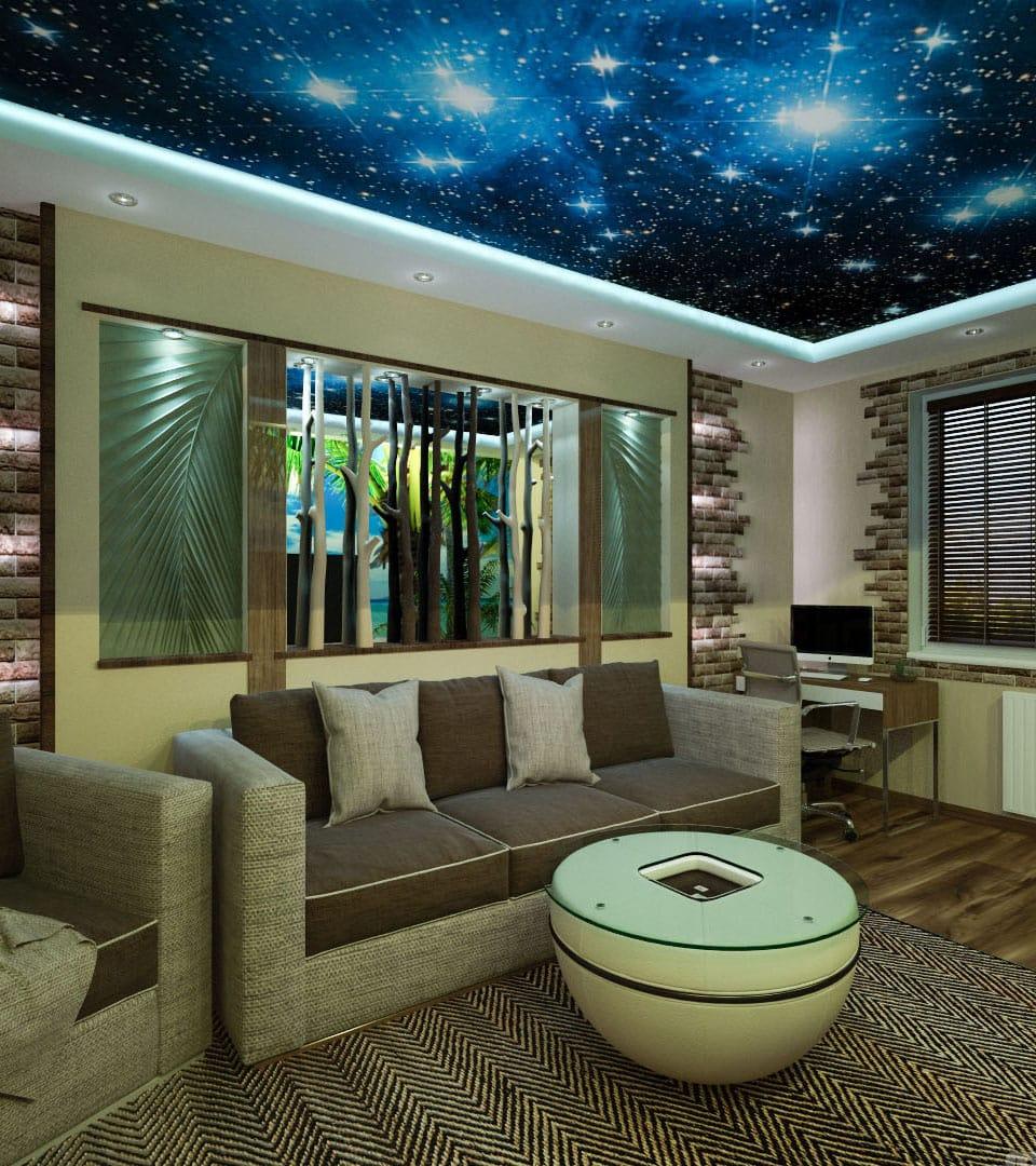 Натяжной потолок звездное небо в гостиной 18 м2 2