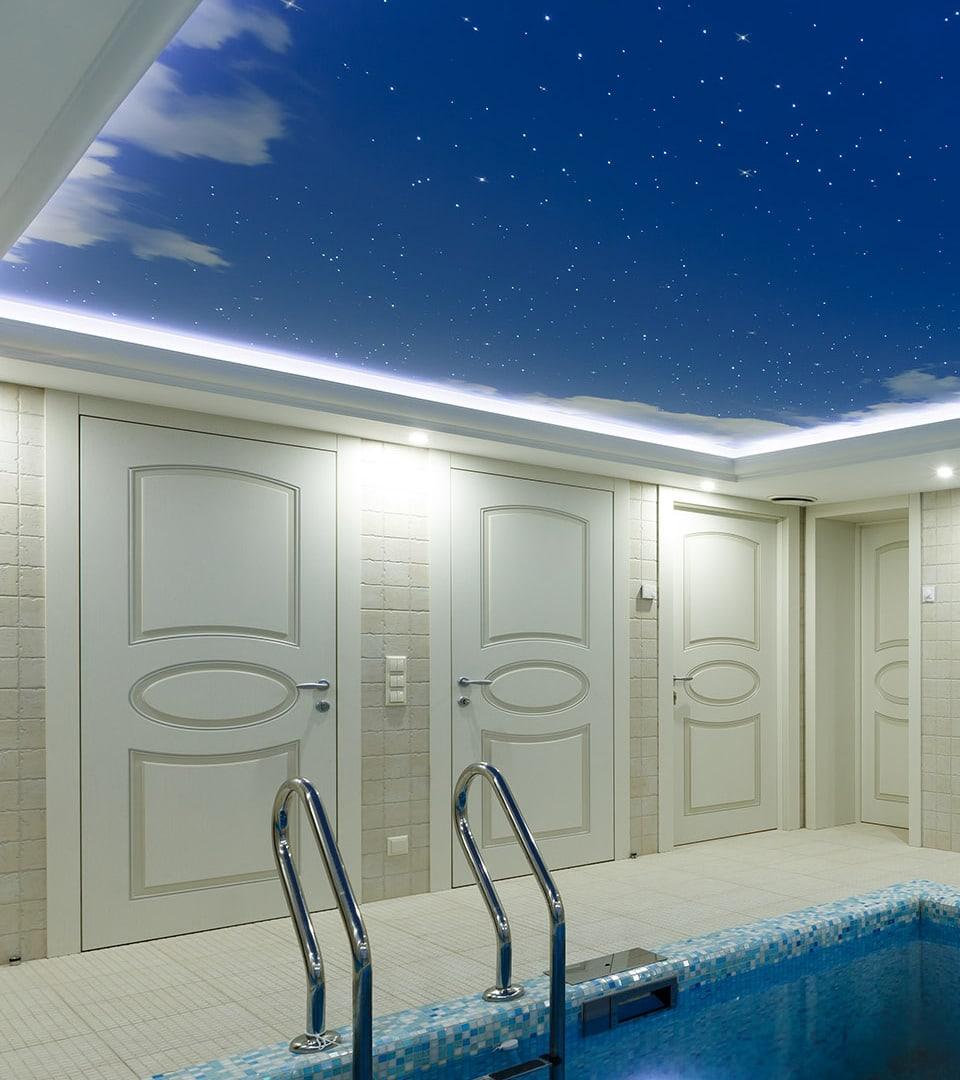 Натяжной потолок звездное небо в бассейне 19 м2 4