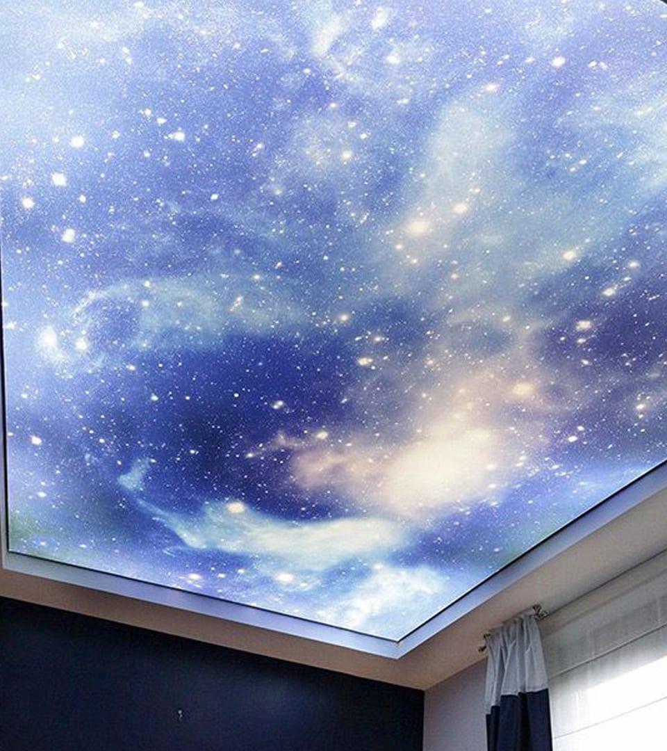 Натяжной потолок звездное небо в спальне 10 м2 2