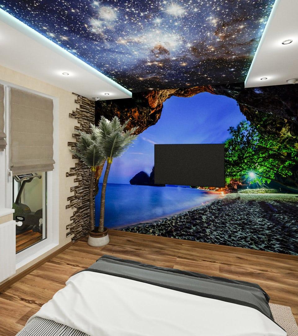 Натяжной потолок звездное небо в гостиной 18 м2 5