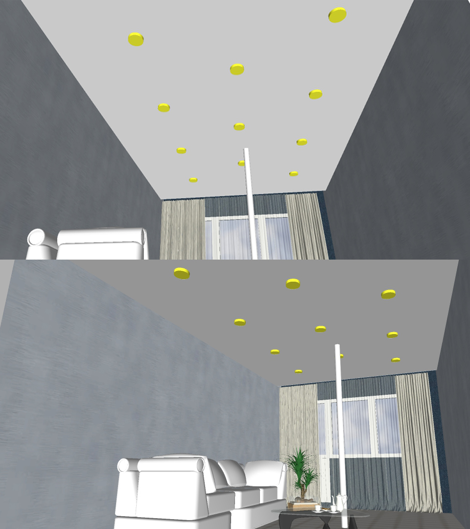 Натяжной потолок в гостиной 18.6 м2 3