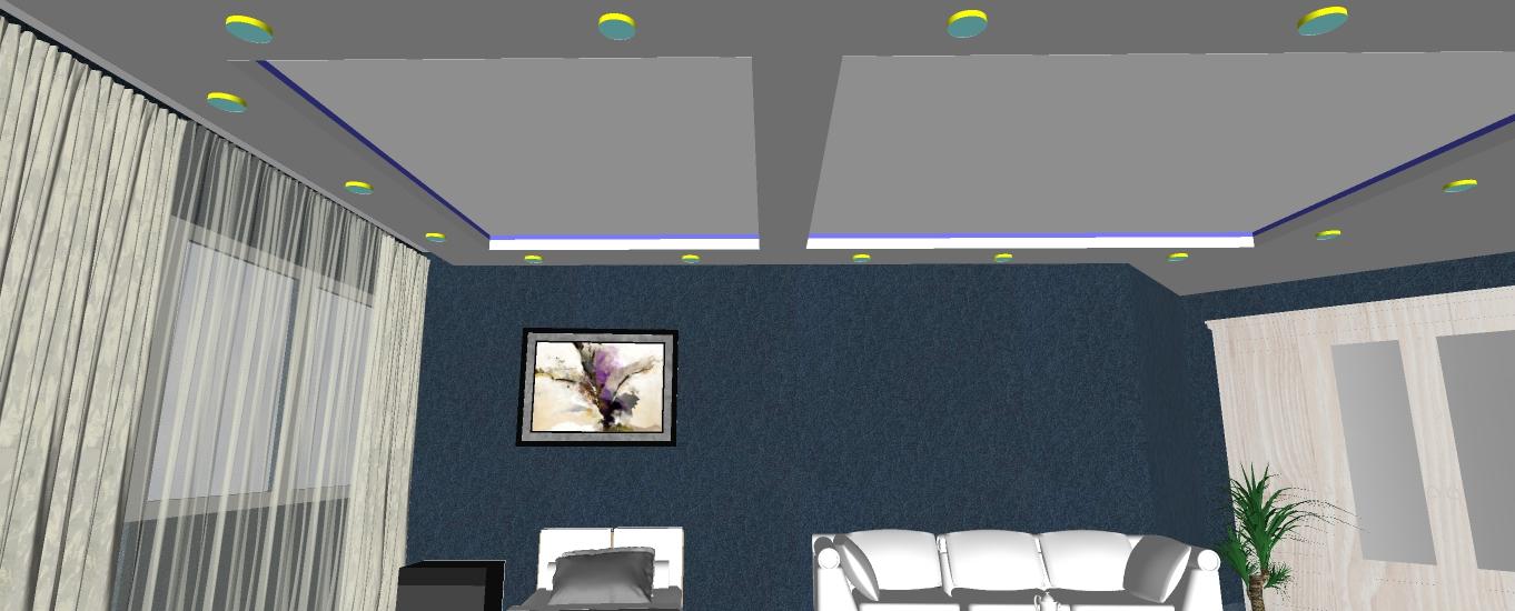 Двухуровневый потолок с подсветкой 21.5 м2 9