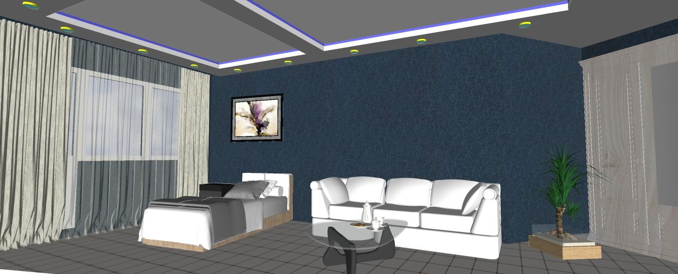 Двухуровневый потолок с подсветкой 21.5 м2 8