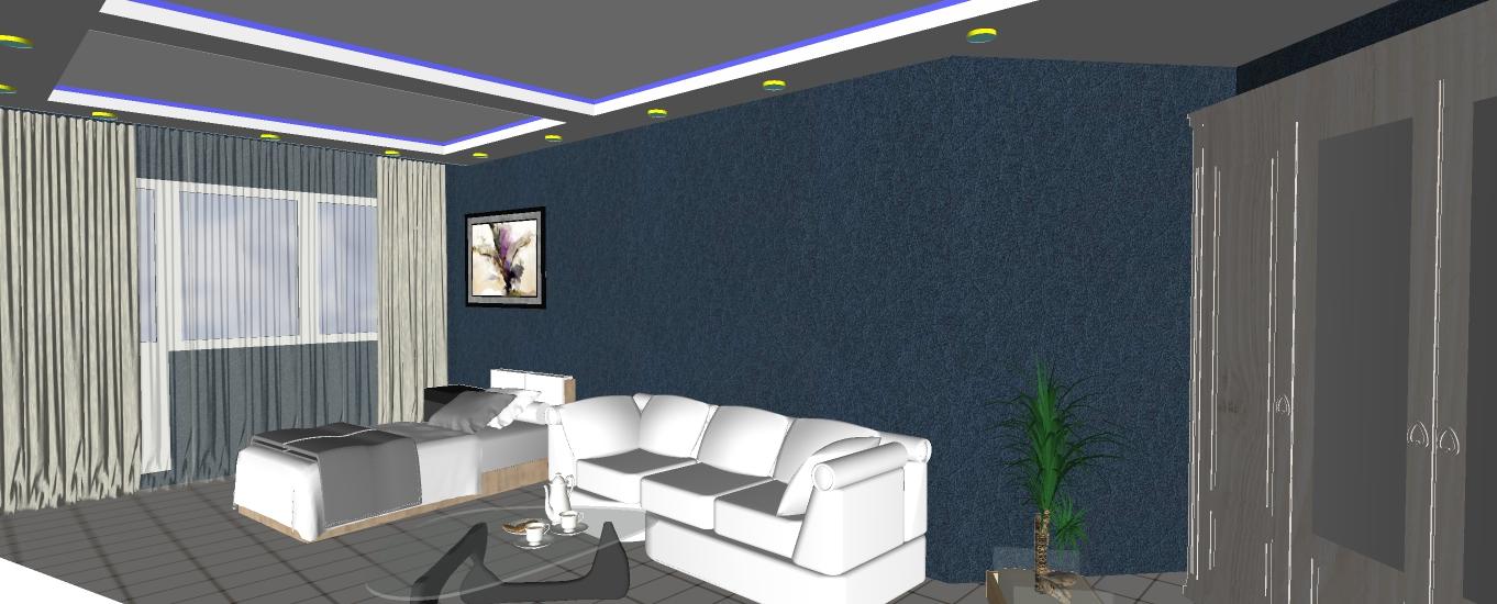 Двухуровневый потолок с подсветкой 21.5 м2 7