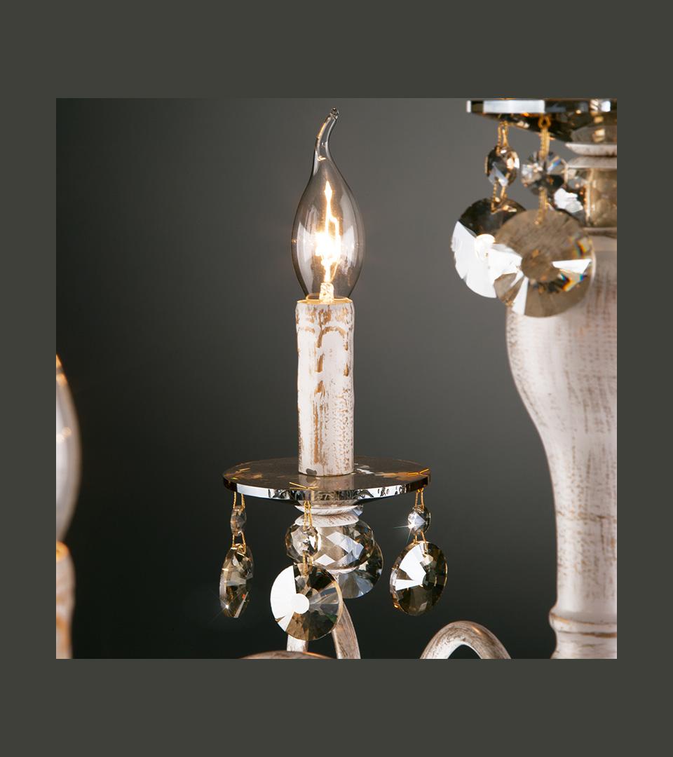 Классическая люстра с хрусталем 10104/8 белый с золотом/тонированный хрусталь Strotskis 3