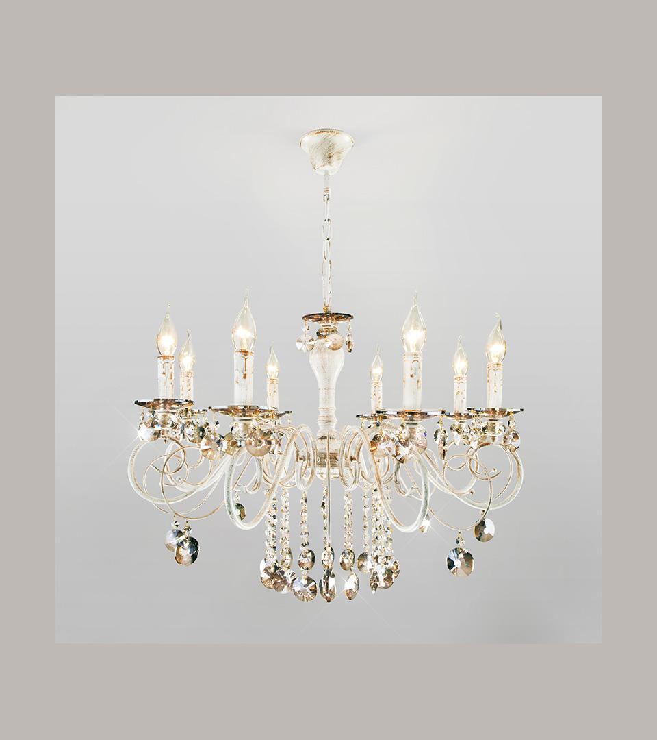 Классическая люстра с хрусталем 10104/8 белый с золотом/тонированный хрусталь Strotskis 2