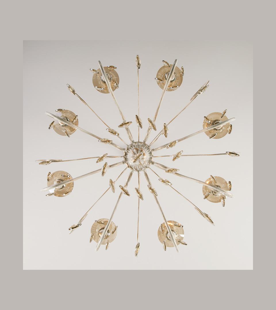 Классическая люстра с хрусталем 10104/8 белый с золотом/тонированный хрусталь Strotskis 1