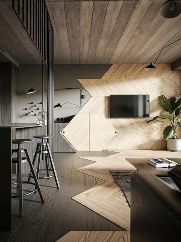 Натяжные потолки в стиле лофт 8
