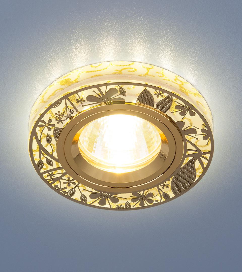 Встраиваемый точечный светильник с LED подсветкой 8096 MR16 GD золото 1