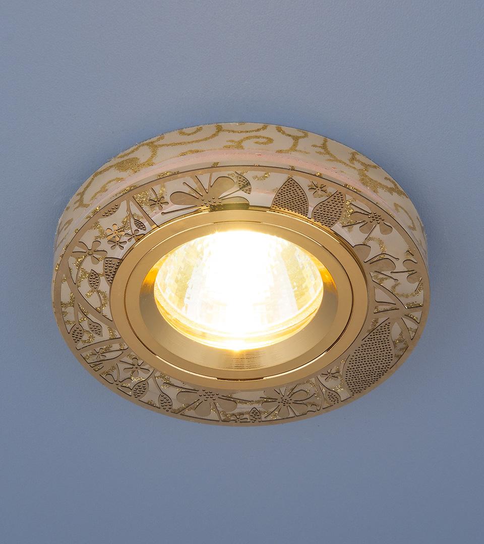 Встраиваемый точечный светильник с LED подсветкой 8096 MR16 GD золото 3