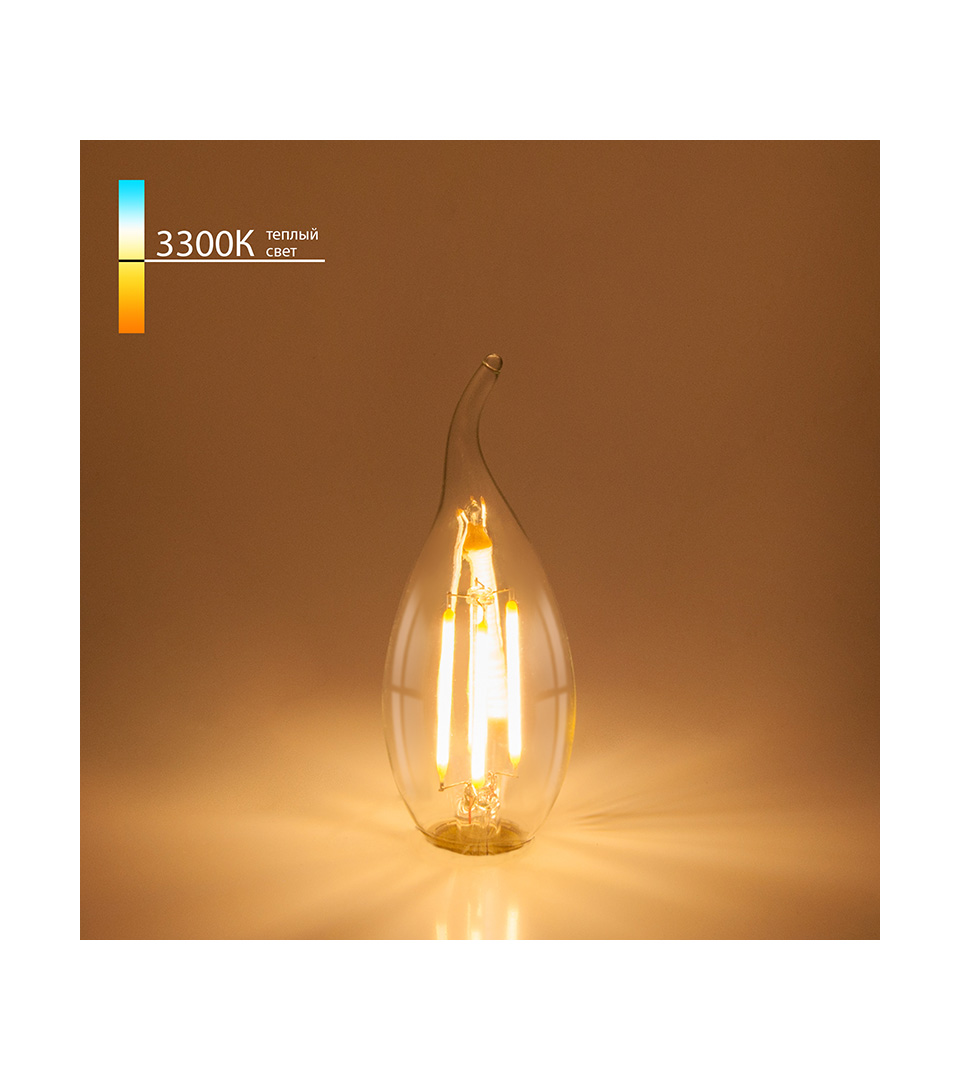 """Филаментная светодиодная лампа """"Свеча на ветру"""" CA35 7W 3300K E14 2"""